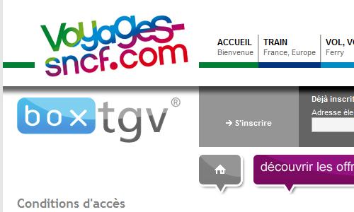 Portail BoxTGV de la SNCF