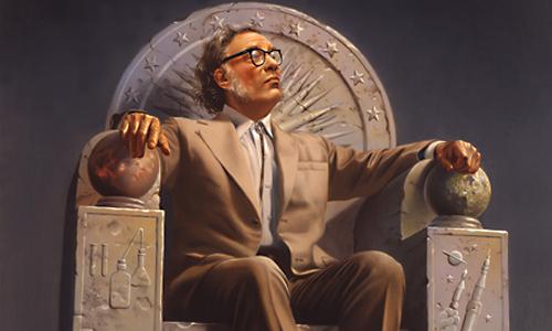 Isaac Asimov sur son trône, par Rowena Morill