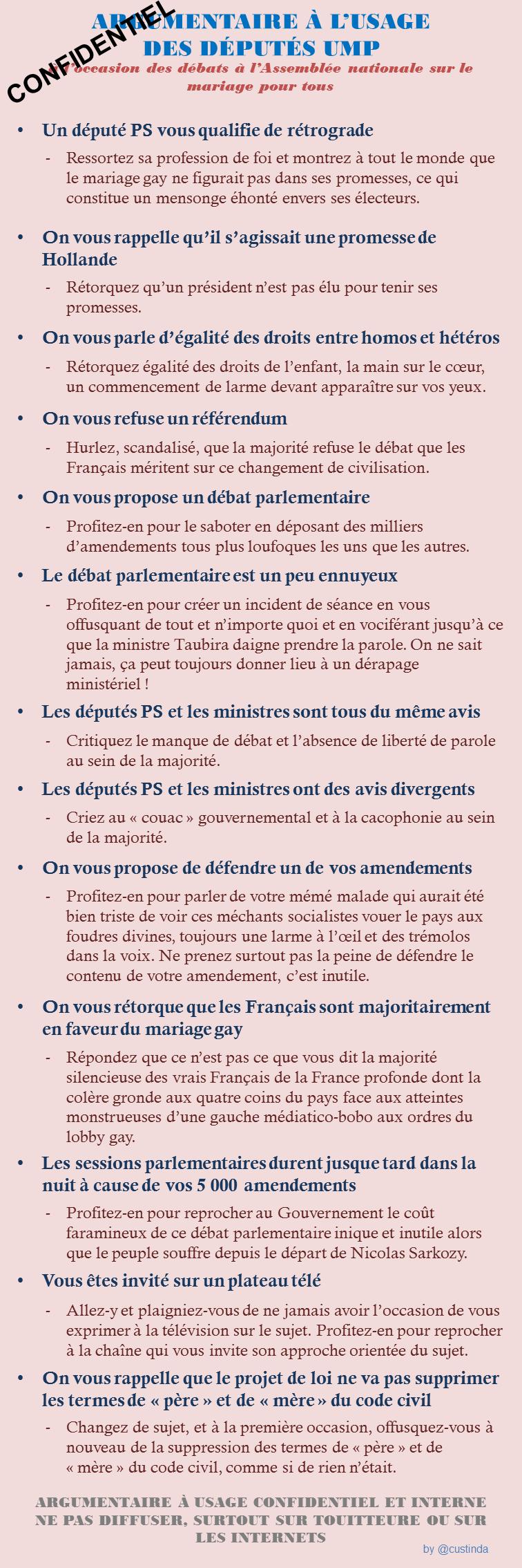 Argumentaire UMP pour le mariage pour tous ©Custinda