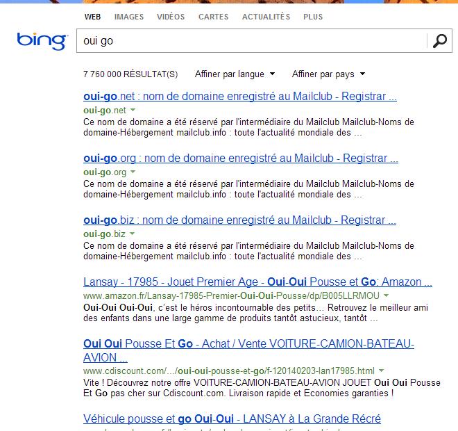 "La recherche ""oui go"" sur Bing"
