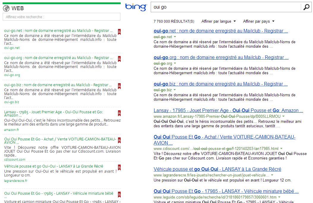 Les résultats de Qwant et de Bing sont sans conteste identiques.