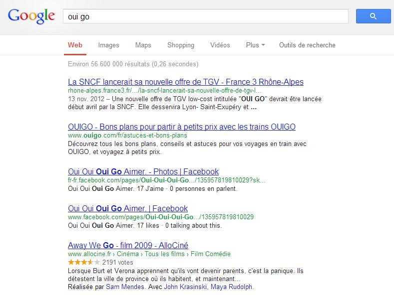 """La recherche """"oui go"""" sur Google"""
