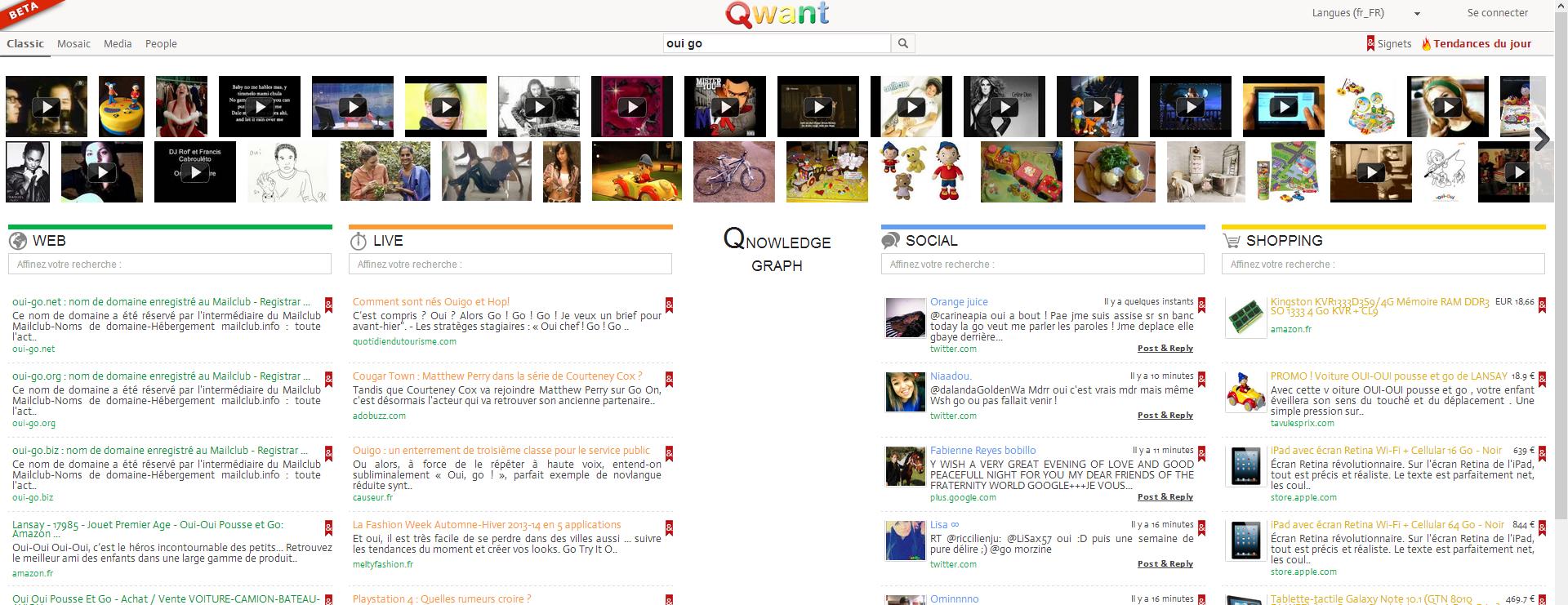 """La recherche """"oui go"""" sur Qwant"""